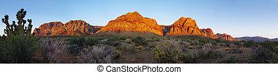 roter felsen, wüste, an, sonnenaufgang