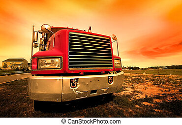 roter lastwagen
