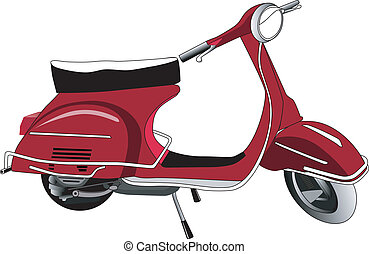 Roter Motor Roller - Ein historischer roter Motor Roller....