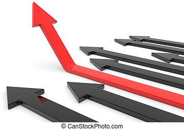 roter pfeil, auf., begriff, von, erfolg, growth.