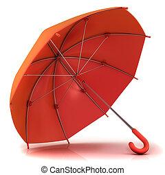 roter schirm, 3d, freigestellt, weiß