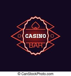 roter stab, kasino, oval, neon zeichen
