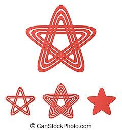 roter stern, schleife, logo, design, satz