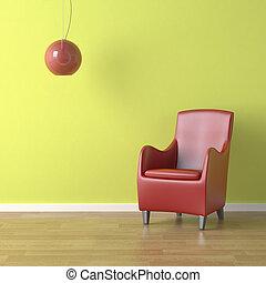roter stuhl, auf, grün