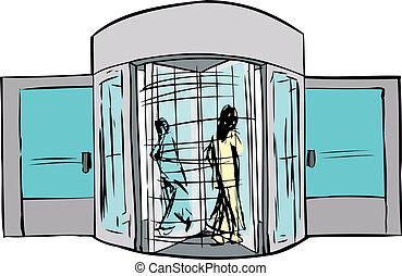 roterande, dörröppning, två folk