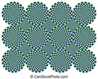 roterande, hjul, diamant, illusion