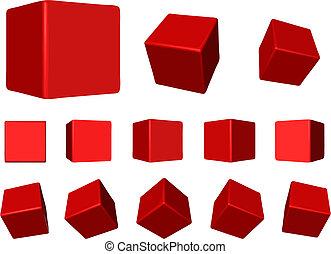 roterande, kuben, röd
