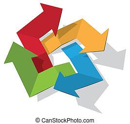 roterande, pilar, färgrik