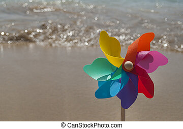 roterande, regnbåge, liten sol, strand, färgrik
