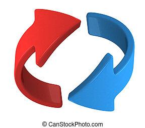 roteren, de, blauwe , richtingwijzer
