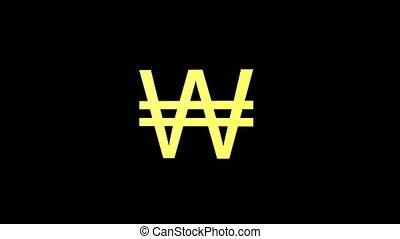 roteren, goud, symbool, valuta, gewonnen, zwarte achtergrond