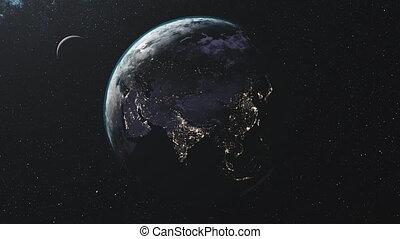 roteren, ster, achtergrond, baan, maan, weg, melkachtig, aarde