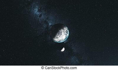 roteren, ster, bovenzijde, baan, maan, dons, achtergrond, aarde
