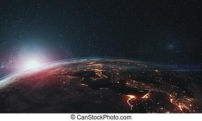 roteren, ster, op, oppervlakte, achtergrond, aarde, afsluiten, episch