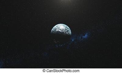 roteren, verlichten, snelle motie, balk, aarde, ster