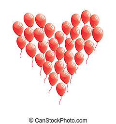 rotes , abstrakt, herz, balloon