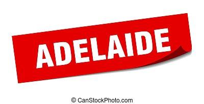 rotes , adelaide, sticker., zeichen, schäler, quadrat