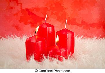rotes , advent, kerzen