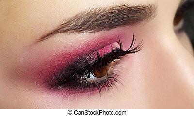rotes auge, makeup., schöne , auge verfassung, aufschließen