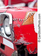rotes auto, kaputte , front, seite, flügel