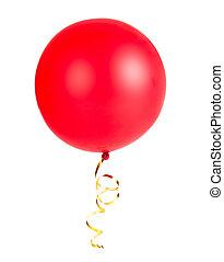rotes band, balloon, foto, mit, gold, schnur, freigestellt, weiß
