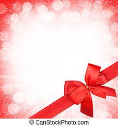 rotes band, mit, schleife, aus, weihnachten, schnee,...
