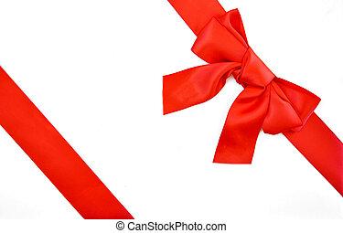rotes band, und, schleife, geschenkschachtel
