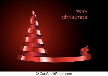 rotes band, weihnachtsbaum