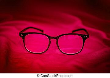 rotes , brille, stoff, hintergrund, lesende