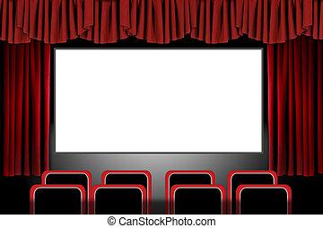 rotes , buehne, vorhänge, in, a, filmvorführgerät, setting:,...