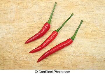 rotes , chili, auf, holz, brett