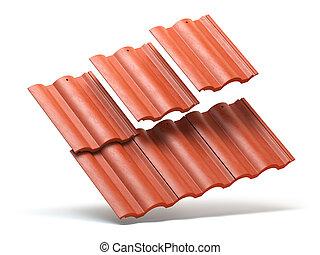 rotes , dach, fliesenmuster, hintergrund, freigestellt, weißes
