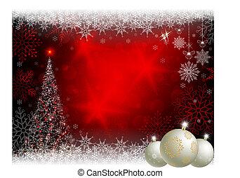 rotes , design, mit, a, weihnachtsbaum, und, weißes, kugeln