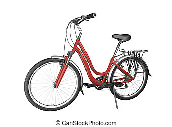 rotes , fahrrad, isoalted