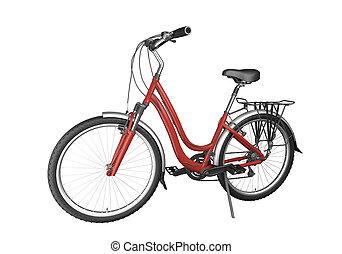 rotes , fahrrad, isoalted