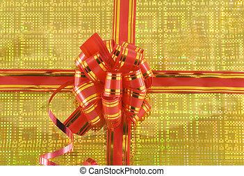 rotes , feiertag, schleife, auf, gelber hintergrund