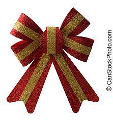 rotes , feiertag, schleife, weiß, hintergrund