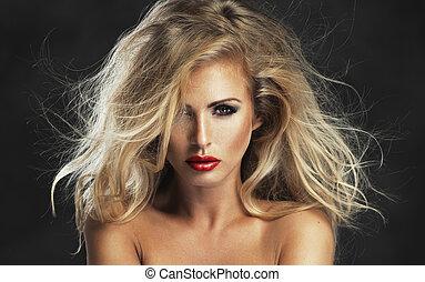 rotes , frau, lippen, streng, sexy