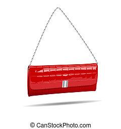 rotes , frauen, tasche, freigestellt, weiß, photo-realistic, abbildung