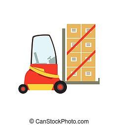 rotes , gabelstapler, lager , auto, heben, der, papierbuchsbaum, pakete, lagerraum, maschinerie, ohne, treiber