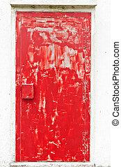 rotes , gefärbt, verwittert, tür