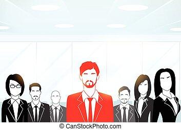 rotes , geschäftsmann, silhouette, schwarz, geschäftsmenschen, gruppe, mannschaft