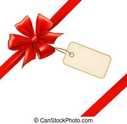 rotes , geschenk verbeugung, mit, bänder, und, verkauf,...