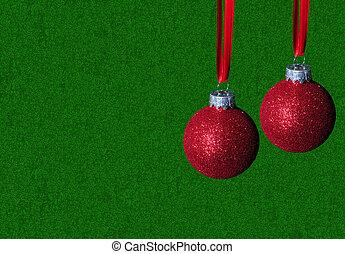 rotes grün, verzierungen, hintergrund, weihnachten