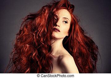rotes , hair., mode, m�dchen, porträt