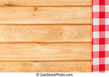 rotes , handtuch, aus, hölzern, küchentisch