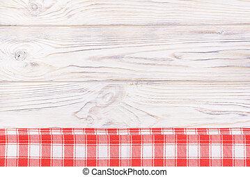 rotes , handtuch, aus, hölzern, kueche , tisch., siehe oben, mit, kopieren platz
