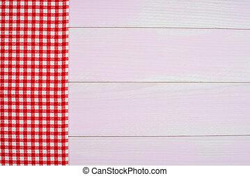 rotes , handtuch, aus, holztisch