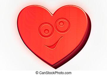 Rotes Herz Catoon mit Design Charakter