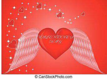 rotes herz, mit, flügeln, glücklich, valentine, tag
